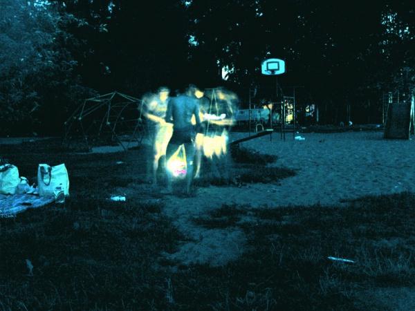 Ночной пляж. Съёмка инфракрасной камерой.